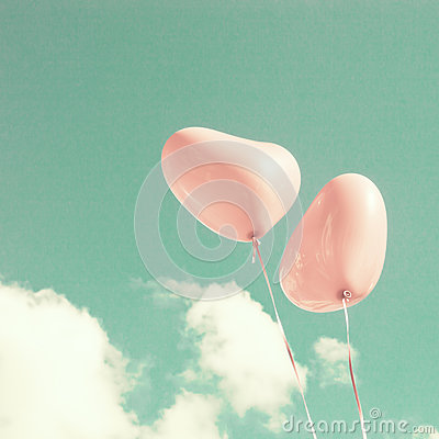 Free Two Pink Heart-shaped Balloons Stock Images - 45974714