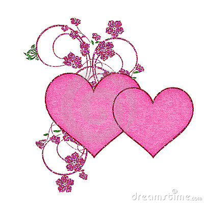 Two Pink Hearts with Glitter Flowers