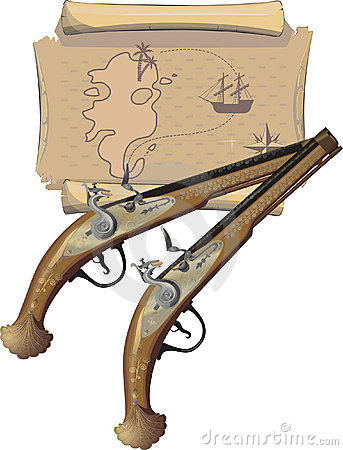 Two Pirate pistol and Map