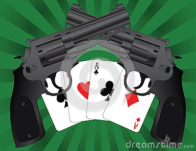 Two pistols and aces
