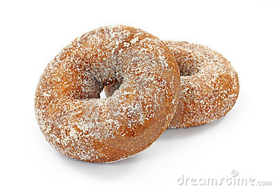 Two plain sugar cake doughnuts