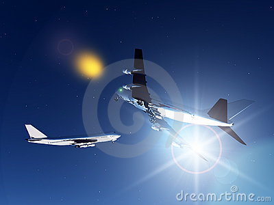 Two Planes Flying At Night