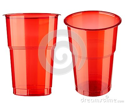 Two plastic glasses