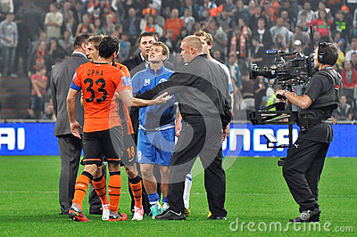 Two players swear on the field Editorial Stock Photo