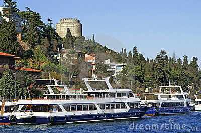Two pleasure boats near Rumeli Fortress