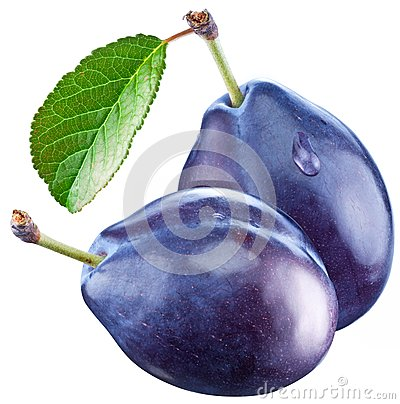Free Two Plums With A Leaf Stock Photography - 27912332