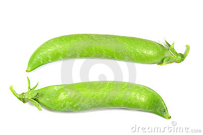Two pods of green peas isolated on white