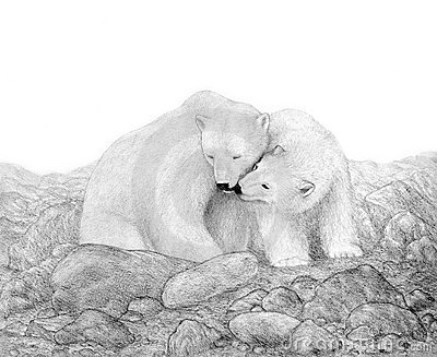 Two Polar Bears in a Rocky Landscape