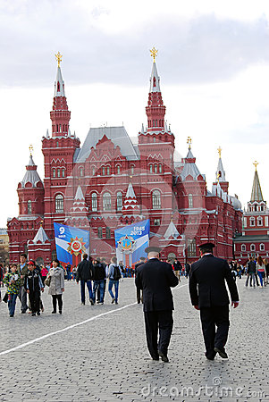 Two policemen walking on the Red Square Editorial Photography