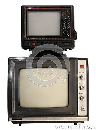 Two portable mini TV sets