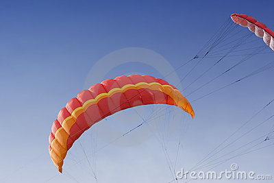 Two power kites on the sky
