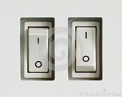 Two power switches built into plastic surface