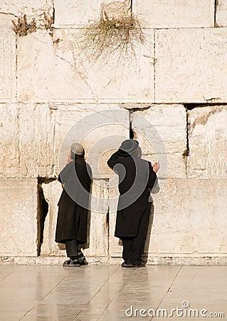 Two prayers near Jerusalem wall Editorial Stock Photo