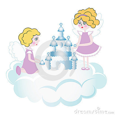 Free Two Pretty Angels Playing In The Sky Royalty Free Stock Photography - 8388957
