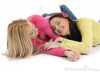 Two Pretty Female Friends Having Fun And Laughing Royalty Free Stock Photography - Image: 18474057