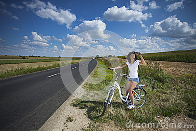 Two pretty girls on bike tour