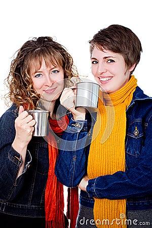 Two pretty girls having coffee