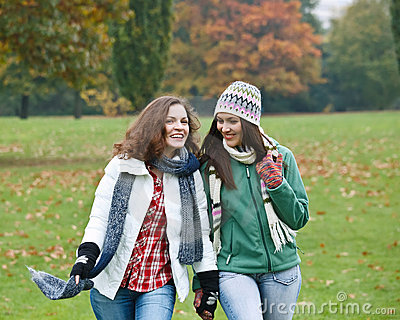 Two pretty girls having fun