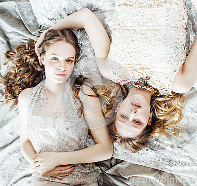 Free Two Pretty Twin Sister Blond Curly Hairstyle Girl In Luxury House Interior Together, Rich Young People Concept Royalty Free Stock Photography - 96339247