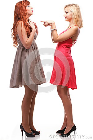 Free Two Pretty Women Ginger With Blonde In Gowns On White Royalty Free Stock Photos - 29700468