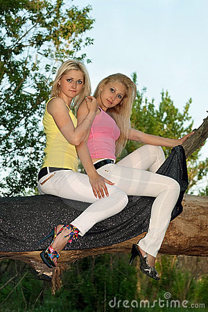 Two pretty young blonde sitting on a tree