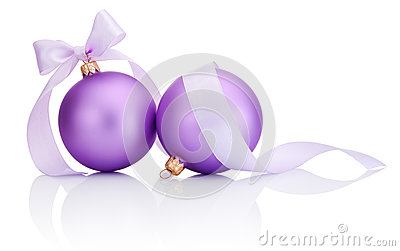 Two purple christmas balls with ribbon bow Isolated on white