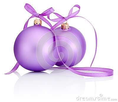 Two purple Christmas Bauble with ribbon bow Isolated on white