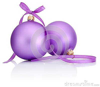 Two purple Christmas Bauble with ribbon bow  on white