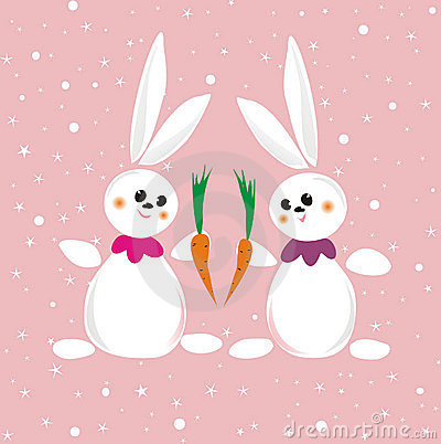 Two rabbits with carrot