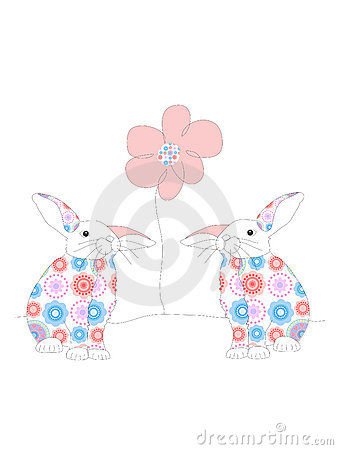 Two rabbits and a flower