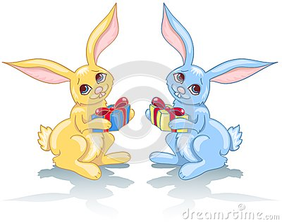Two rabbits and gift.