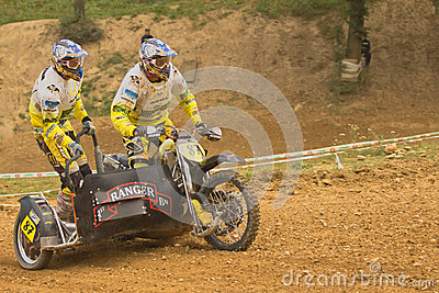 Two racers ride a  sidecar motorbike Editorial Image