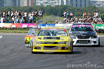 Two racing car stand on track Editorial Stock Photo