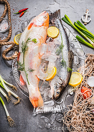 Free Two Raw  Whole Fish With Fresh Ingredients For Tasty And Healthy Cooking. Gold Rainbow Trout On Concrete Stone Background With Ice Stock Photo - 73491800