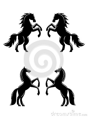 Two rearing up horses silhouettes