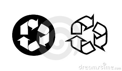 Two recycling symbol