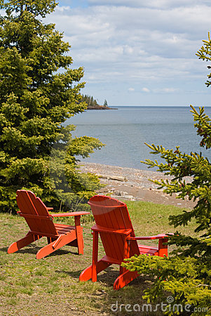 Two Red Adirondack Chair