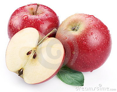 Two red apple with leaf and half of apple.