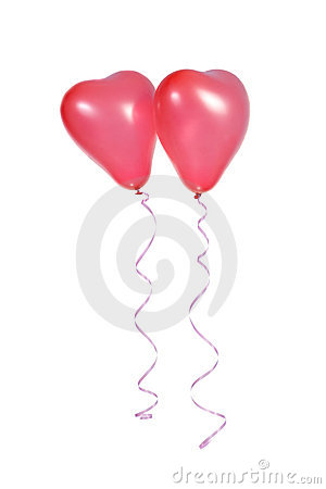 Two red balloons in the shape of a heart