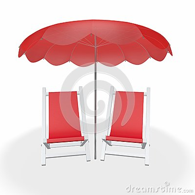 Two Red Beach Chairs Under Umbrella Stock Illustration