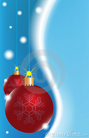 Two red Christmas ball on a blue background