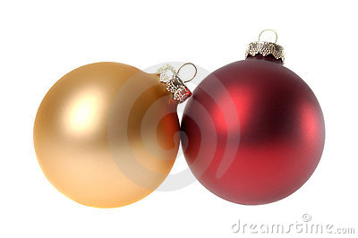 Two red Christmas ornaments / baubles, white background