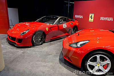 Two Red Ferrari California at the Auto Show Editorial Stock Photo