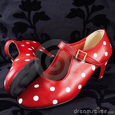 Free Two Red Flamenco Dancing Shoes With White Dots Royalty Free Stock Image - 1812736