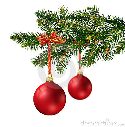 Two red glass balls on Christmas tree branch