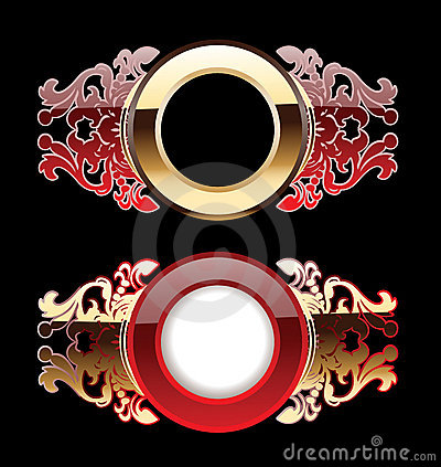 Two Red And Gold Glow  Rings