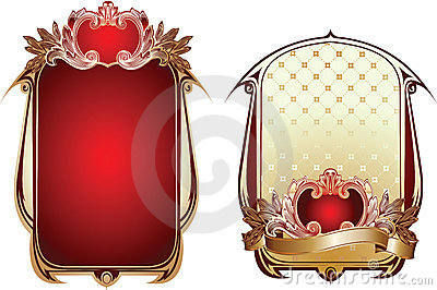 Two Red And Gold Ornate Backgrounds.