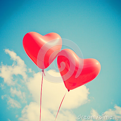Free Two Red Heart-shaped Balloons Stock Images - 45974344
