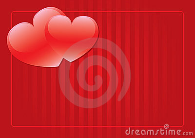 Two red hearts background