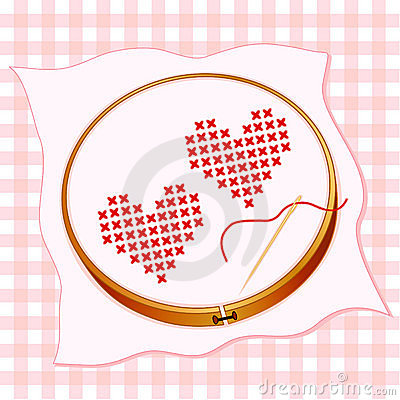 Two Red Hearts Embroidery